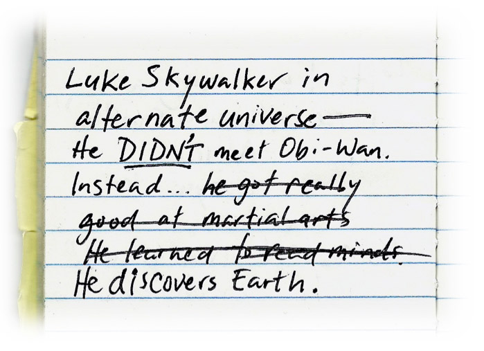 Luke Skywalker in alternate universe. He didn't meet Obi-Wan. Instead, he got really good at martial arts. No, he learned to read minds. No, he discovers earth.